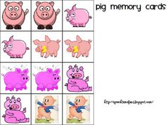 Pig memory cards - to use with Three Little Pigs - free download from Speech Time Fun