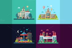 Four Cityscapes Flat Design Set by Decorwith.me Shop on Creative Market