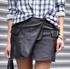 Plaid + leather.