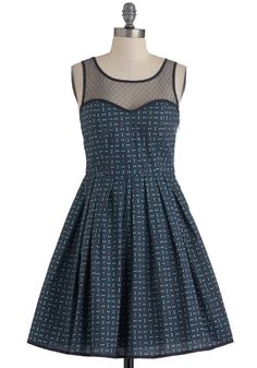 Dot a Worry in the World Dress - Mid-length, Blue, Polka Dots, Party, Vintage Inspired, Sleeveless, Fit & Flare