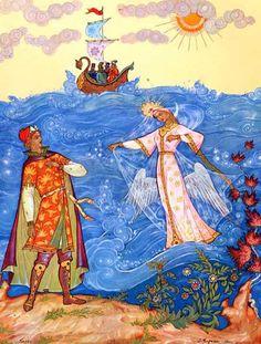 Los cuentos de hadas de Pushkin.  Princesa Cisne.  Kurkin