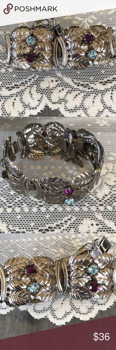 Vintage bracelet Gorgeous bracelet with Silver leaf design with blue and purple rhinestones safety catch Jewelry Bracelets