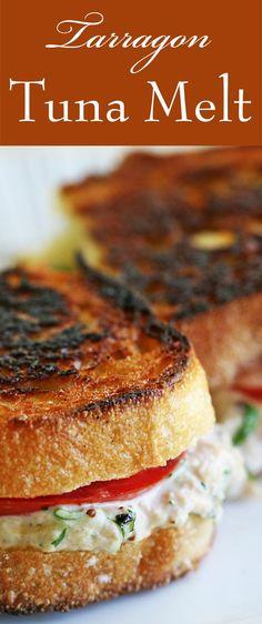 Tarragon Tuna Melt ~ Classic grilled cheese tuna salad sandwich with tarragon. Tuna melt recipe with French loaf bread, canned tuna, mayonnaise, cheddar cheese, parsley, lemon, tarragon. ~ SimplyRecipes.com