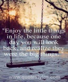 Enjoy the little things- Life quotes