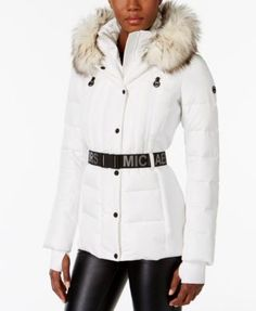 MICHAEL Michael Kors Active Faux-Fur-Trim Belted Puffer Coat | macys.com