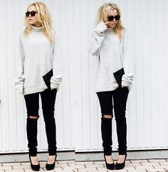 love the slouchy sweater with skinny jeans and heels