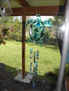 Fused glass sea turtle wind chime