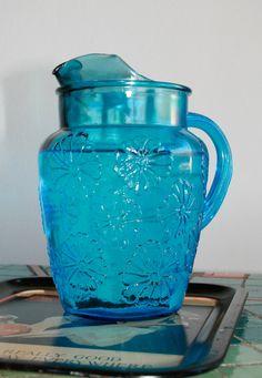 Vintage Anchor Hocking blue glass pitcher by HelmetsAndHandbags
