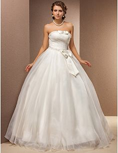 Ball Gown Strapless Natural Floor-length Sleeveless Lace-up Tulle Glamorous Dramatic Hall Wedding Dress #169422(More color option)