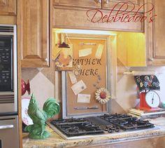 panel de notas en la cocina