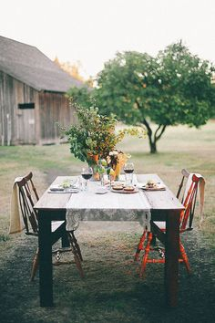 Simple flowers, simple setting. Table arrangements for outside.