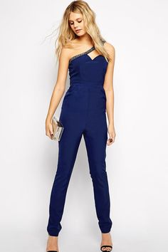 Shop Little Mistress Tall Embellished One Shoulder Jumpsuit at ASOS. Sexy Outfits, One Shoulder Jumpsuit, Asos, Tall Clothing, Overalls Women, Blue Jumpsuits, Online Clothing Boutiques, Dressed To Kill, Models
