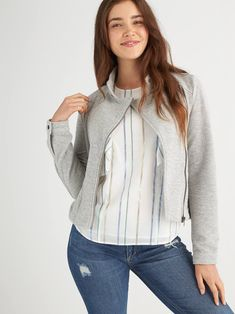 What to Wear Night Out from Stitch Fix. Pretty striped shirt with gray sweater and jeans