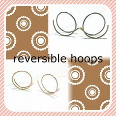 Reversible Hoops Copper Open Hoops Patina Hoop by MoodTherapy
