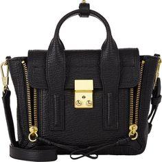 3.1 Phillip Lim Pashli Mini Satchel (44.335 RUB) ❤ liked on Polyvore featuring bags, handbags, bolsas, black, genuine leather purse, mini satchel, leather man bags, mini purse and leather handbags