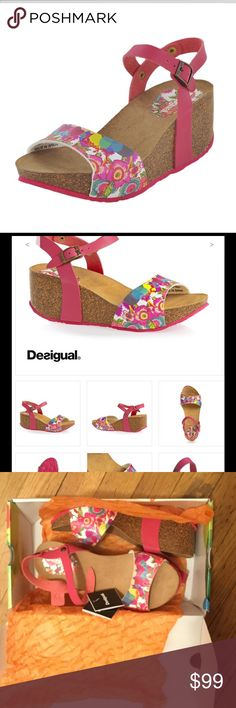 """DESIGUAL CARAMELO  HEELED SANDALS in April Red DESIGUAL CARAMELO  HEELED SANDALS in April RedWoman's wedge sandalsAdjustable fit with buckle ankle fastening Cork-effect wedgeWedge height: 2.36""""Platform:1.8"""" Desigual Shoes Sandals"""