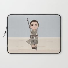 Kokeshi Rey Star Wars laptop sleeve on Society 6