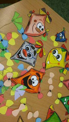A Paper Crafts For Kids, Diy And Crafts, Ivan Cruz, Kite Designs, Kindergarten Class, Origami, Summer Kids, School Projects, Preschool Activities