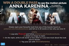 To celebrate the stunning costume design and exquisite jewellery in the motion picture #AnnaKarenina, we're giving away 20 double passes to see #AnnaKarenina at the cinema! Follow the instructions above and enter now. Competition ends 13/02/13. Entry is open to all permanent residents of Australia. Terms and conditions apply, view here - http://www.annakareninamovie.com.au/terms/index.html