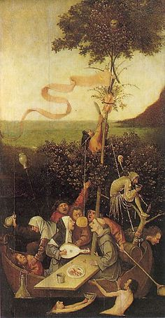 Hieronymus Bosch - The Ship of Fools (Louvre Museum) ヒエロニムス・ボス Renaissance Kunst, Garden Of Earthly Delights, Dutch Painters, Great Paintings, Medieval Art, Oeuvre D'art, The Fool, Les Oeuvres, Painting & Drawing