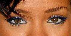 Blue eyeliner; Rihanna