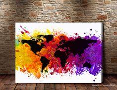 World Map Canvas Print  Art Canvas World Map  by ArtPhotoPrint