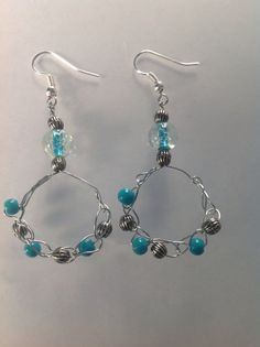 Crochet Wire Beaded Hoop Earrings Crocheted Wire Jewelry EARRINGS on Etsy, $15.00