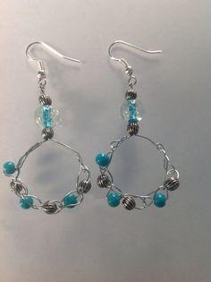 Crochet Wire Beaded Hoop Earrings Crocheted Wire Jewelry EARRINGS on Etsy, $15.00