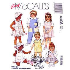 Toddlers Boys & Girls Jumper or Sundress, Overalls, Shortalls, Shirt, Hat & Toys Sewing Pattern  Pattern is UNCUT with factory folds. The