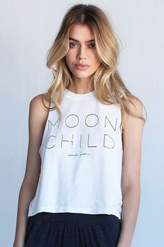 Spiritual Gangster Moon Child Crop Tee - White
