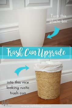 Sisal rope Trash Can | Waste bin | Upgrade | Rustic | Easy cheap fast DIY | Poubelle | Salle de bain | Home Decor