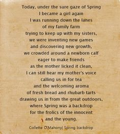 Collette O'Mahony, Spring backdrop #spring #innocence #childhood #poetry