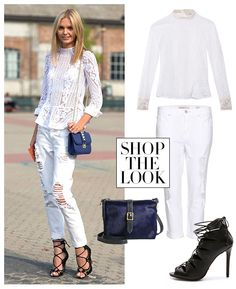 Don't get em wrong this is really cute, but this painfuly reminds of Josie's first day in back High school from Never Been Kissed. #cute # wtf #fashion Never wear white after Labor Day, guys.
