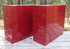 Handmade Furniture Red End Tables Nightstands Metal Industrial Bath ** Check out this great product.