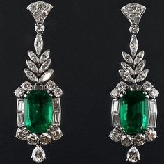 An important pair of Art Deco platinum, diamond and emerald earrings, Italian, about The two emeralds weigh carats each. Emerald Earrings, Emerald Jewelry, Sterling Silver Earrings, Dangle Earrings, Diamond Jewelry, Art Deco Jewelry, Modern Jewelry, Fine Jewelry, Jewelry Design