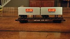 N scale Atlas Louisville & Nashville RR 50' piggyback trailers flat car train #Atlas