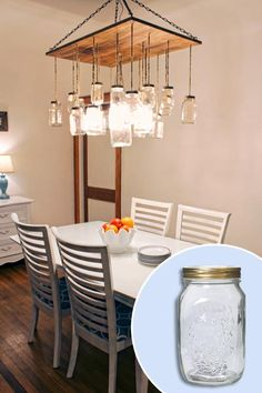 Using a 1-inch-thick wood panel, jute rope, two types of chain, and mason jars from a closeout store, this TOH reader created an expensive-looking chandelier for just $100! | Photo: Cassandra Stambaugh | thisoldhouse.com