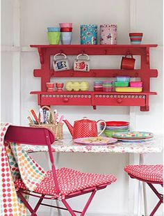possibly make with a shelf, Ikea drawer shelf and some brackets and beautiful red paint!
