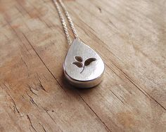 Teardrop with autumn leaves sterling silver by MarthaLjewellery