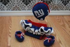 Crochet Football Helmet, Diaper Cover, Booties and Skirt Set