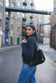 """I read a quote the other day that really stuck with me: """"One life. Why aren't we running like we're on fire towards our wildest dreams? East London, Blue Sweaters, Shades Of Blue, Mini Bag, Personal Style, Blues, Curvy, Zara, Turtle Neck"""