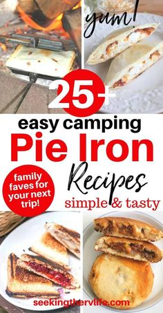 25+ Pie Iron Recipes that are so fun and tasty to make! Perfect camping food or a FUN staycation idea! :) From Pie iron recipes campfire desserts (cherry pie, apple pie, and), breakfast recipes like blueberry french toast, and campfire dinner ideas pudgie pie tacos, chicken pot pies - and so much more. We show you what you need, how to cook with your pie iron, and how to care for it too. #campingfood #pieironrecipe #pudgiepies #tonkatoaster #campfirepies #campfiredesserts #RVcooking… Campfire Pies, Campfire Breakfast, Campfire Desserts, Camp Desserts, Grilled Desserts, Mountain Pie Recipes, Mountain Pies, Campfire Cooking Recipes, Camping Recipes