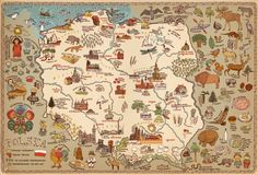 Map of Poland (in Polish) by Aleksandra & Daniel Mizielińscy Map Pictures, Travel Pictures, Silly Pictures, Poland Map, Pictorial Maps, Atlas, Vintage Maps, Illustrations And Posters, Map Art