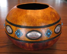 Turquoise and Silver Southwest Bowl by PJsArtfulCreations on Etsy, $75.00