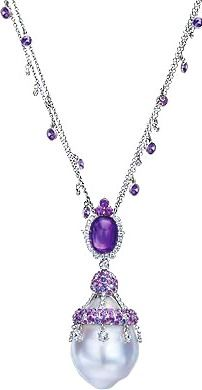 Baroque Pearl, Purple Sapphire and Amethyst Necklace