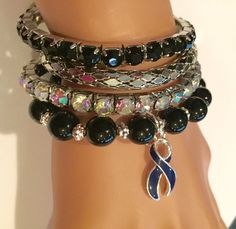 Colon Colorectal Rectal Cancer Survivor  - Navy Dark Blue Charm - Crohn's Disease Colitis / Stack of Bracelets / Spoonie by RockYourCauseJewelry on Etsy