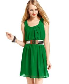 BCX Juniors Dress, Sleeveless Belted  | macys.com