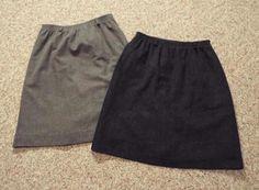 Orvis Black/Gray 100% Wool Womens Size 12 Knee Length A Line Skirt USA Lot of 2 #Orvis #ALine