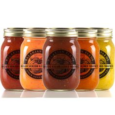 Blended heirloom tomatoes in a rainbow of flavors. They're so pretty, I could just eat them up!