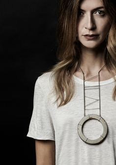 Necklace, concrete, sterling silver and 24k gold leaf. 2014
